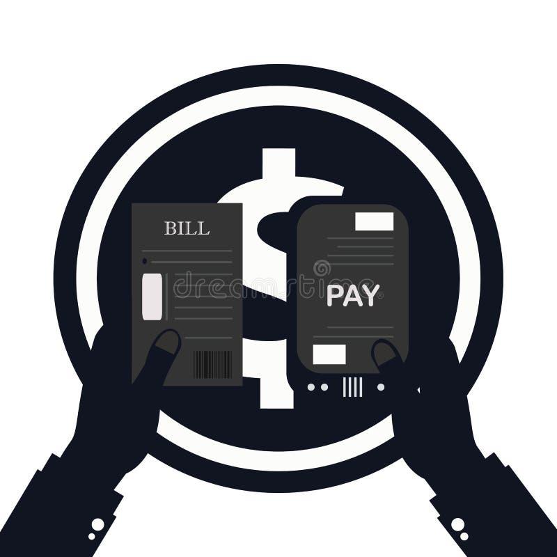Contas pagando, mão que guarda o vetor das contas Ícone da calculadora ilustração stock