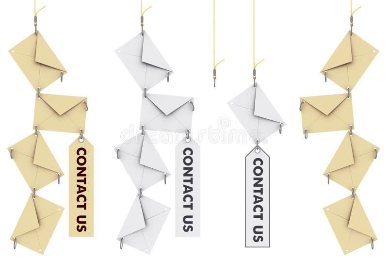 Contate-nos envelopes ilustração stock