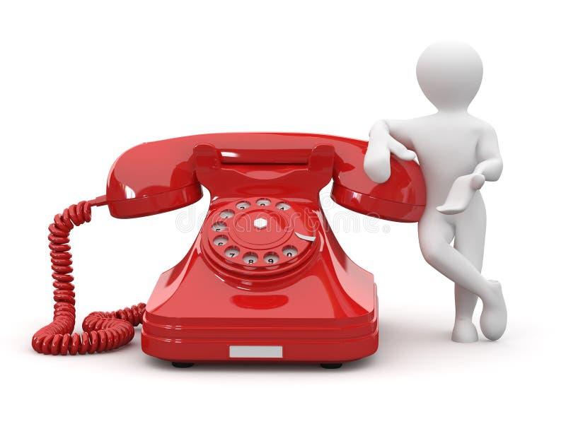 Contate-nos. Homens com telefone. 3d ilustração royalty free