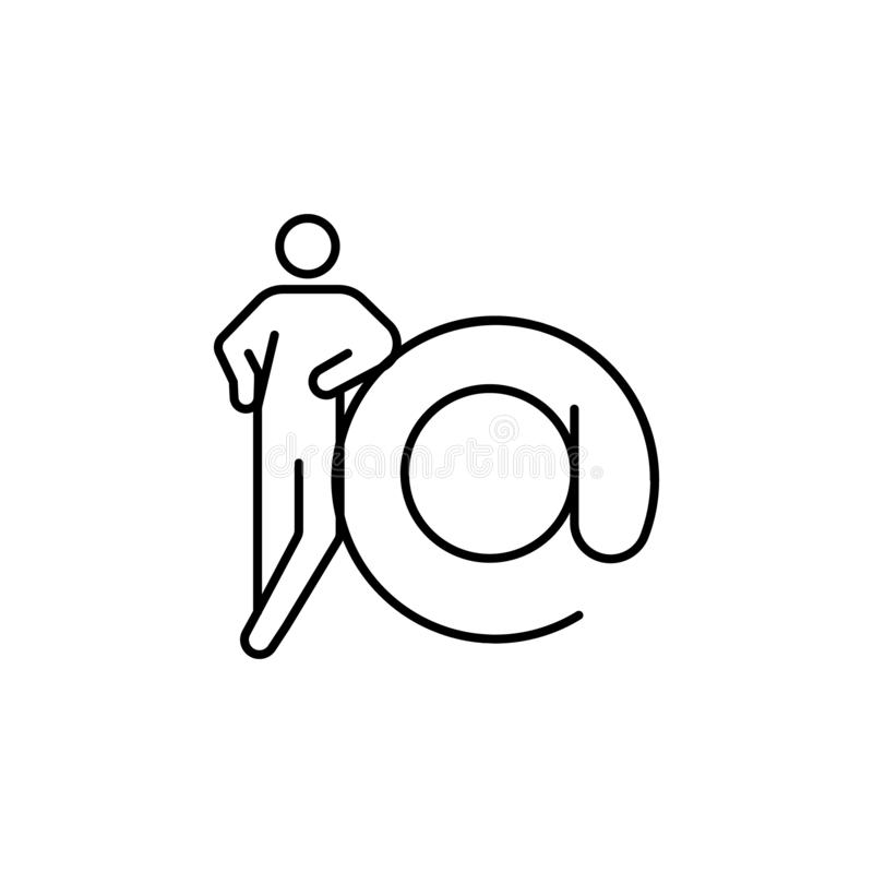 contato, ícone do e-formulário Elemento de figuras conceptuais para a ilustração móvel dos apps do conceito e da Web Linha fina í ilustração royalty free