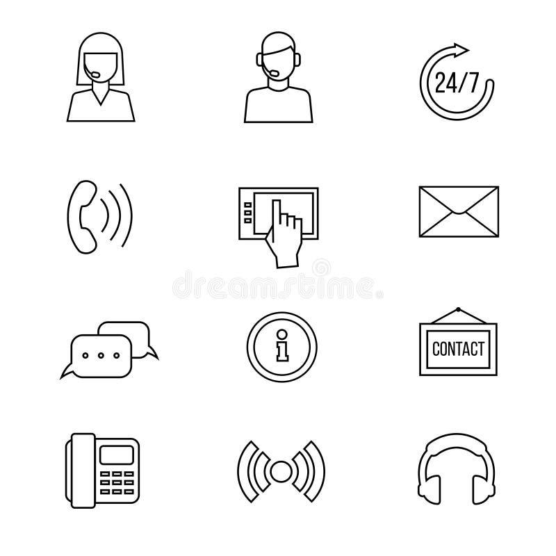 Contato, linha ícones do vetor do apoio ilustração do vetor