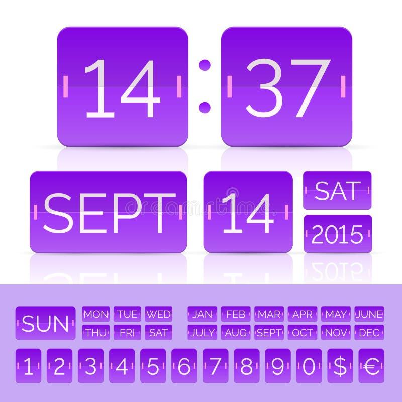 Contatore analogico di vettore porpora e calendario di vibrazione isolato royalty illustrazione gratis