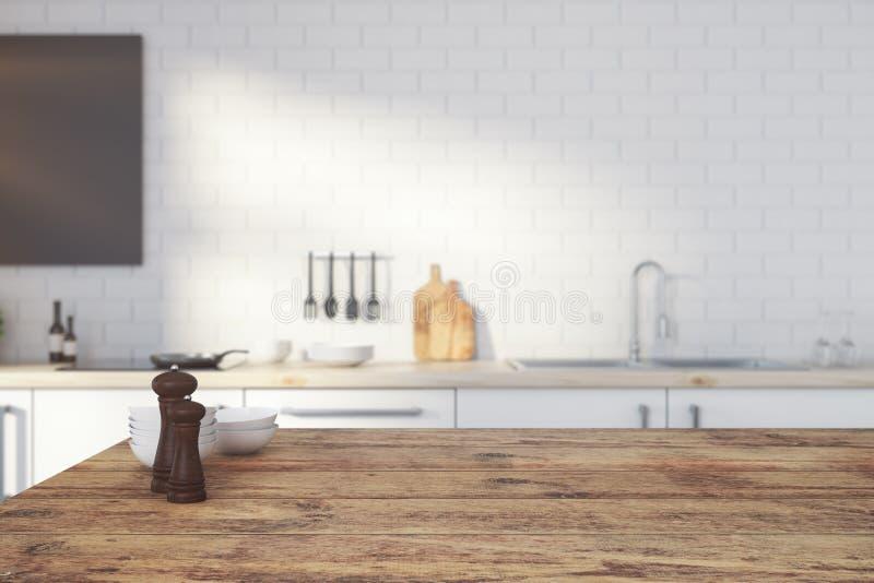 Contatore di cucina di legno vuoto illustrazione di stock