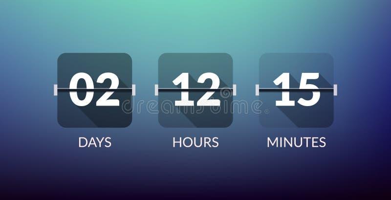 Contatore di orologio di vettore del temporizzatore di Flip Countdown Il piano conta alla rovescia il segno di affari di vettore  illustrazione vettoriale