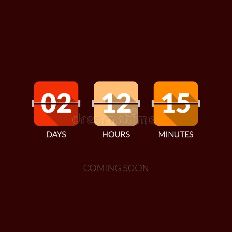 Contatore di orologio di vettore del temporizzatore di Flip Countdown Stile piano illustrazione vettoriale