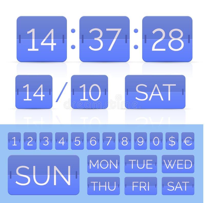 Contatore piano blu di tempo con il calendario di vibrazione illustrazione di stock