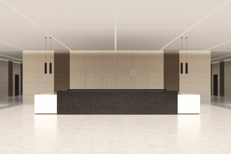 Contatore scuro di ricezione e parete beige, anteriori illustrazione di stock
