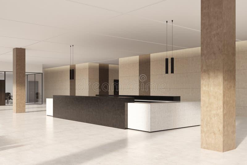 Contatore scuro di ricezione e parete beige, lato illustrazione vettoriale