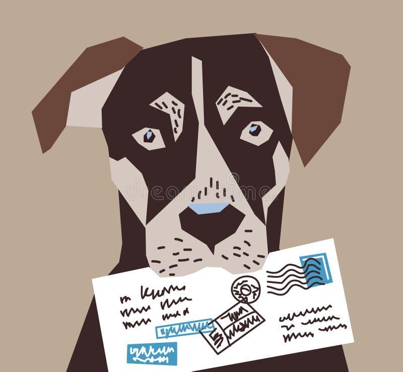 Contatos do carteiro do cargo da letra do cão ilustração do vetor