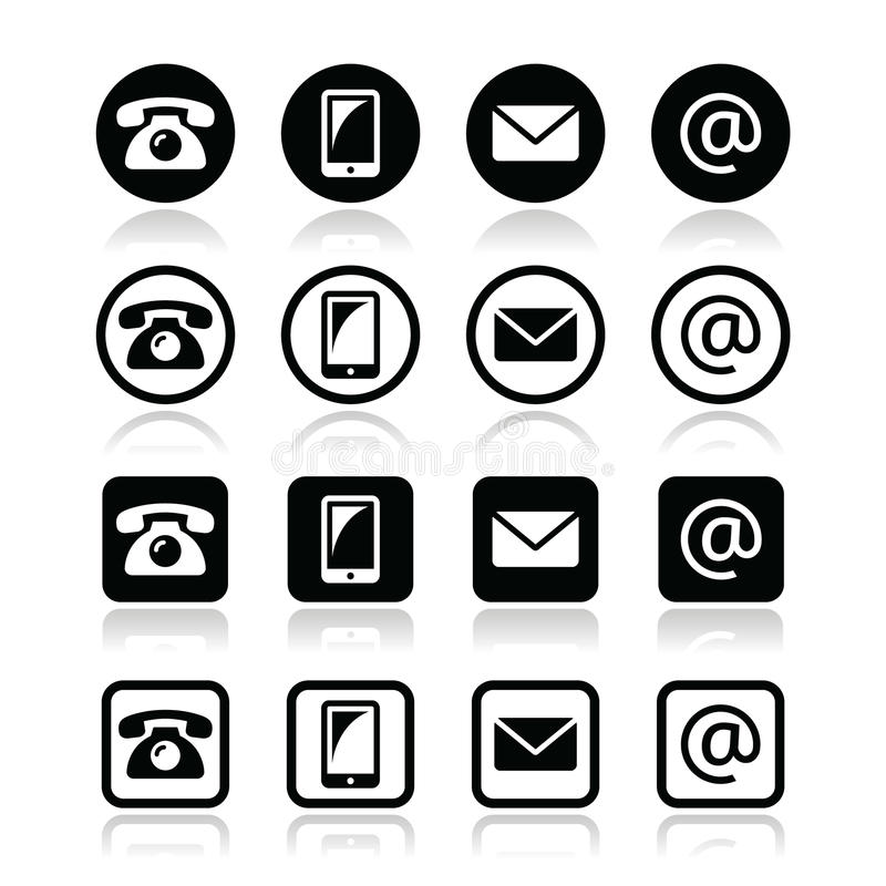 Contatti il cerchio di iconsin e quadri l'insieme - il cellulare, il telefono, il email, busta illustrazione vettoriale