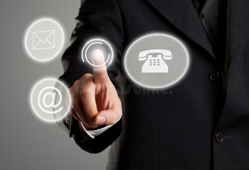 Contatti l'esposizione con le icone della posta, del email e del telefono fotografia stock libera da diritti