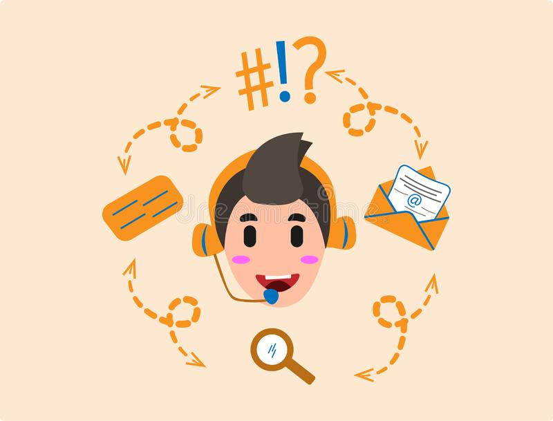 Contatti noi o i bambini dell'icona dell'operatore royalty illustrazione gratis