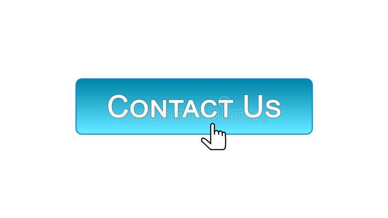 Contattici bottone dell'interfaccia di web cliccato con il cursore del topo, il colore blu, aiuto illustrazione di stock