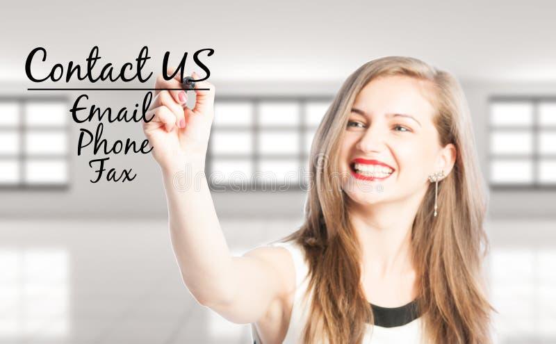 Contattici facendo uso del email, telefoni o invii via fax immagine stock libera da diritti