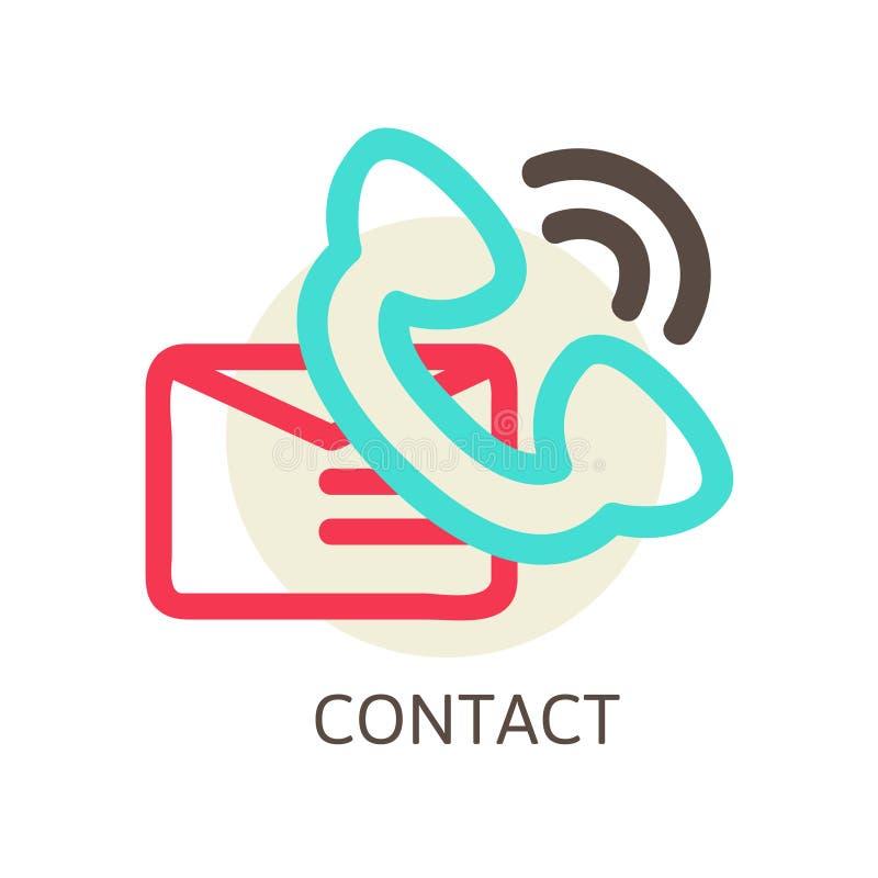 Contattici icona di vettore - email e telefono illustrazione vettoriale