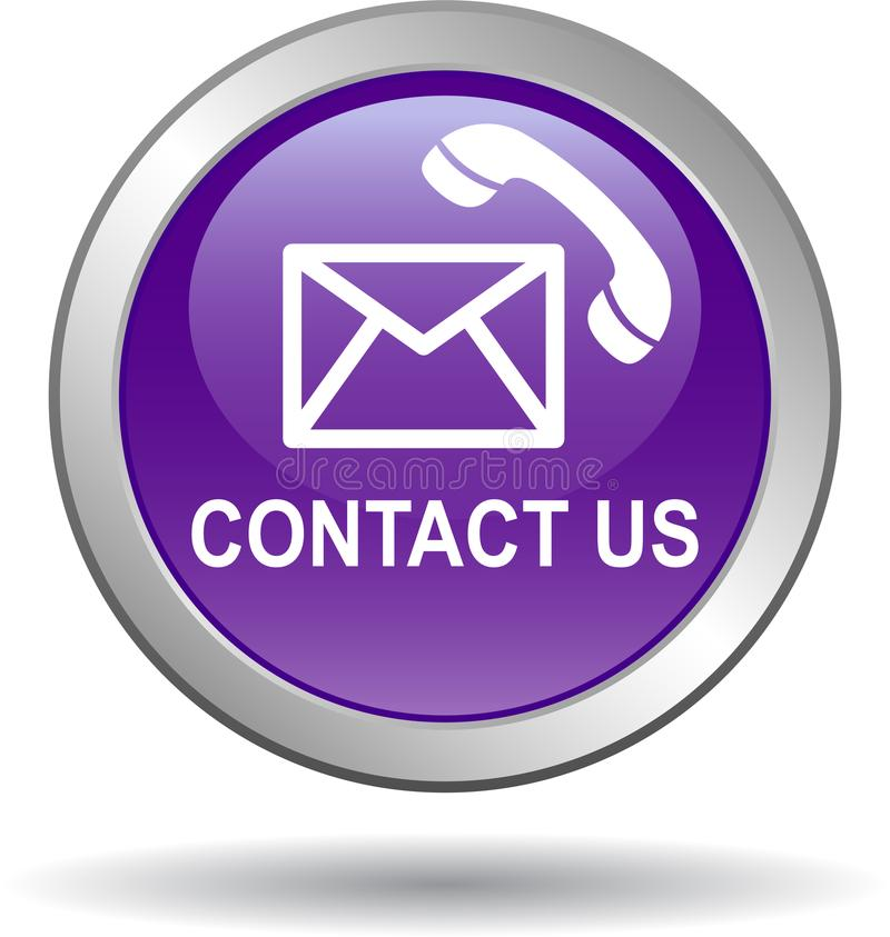 Contattici icone di chiamata di posta viola illustrazione di stock