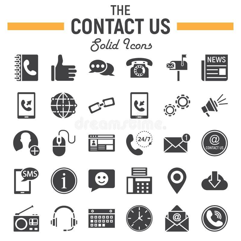 Contattici insieme solido dell'icona, segni del bottone di web illustrazione vettoriale