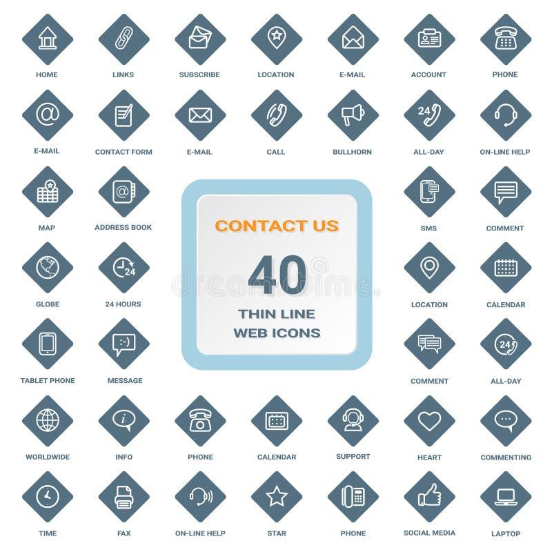 Contattici - l'insieme della linea sottile icone di web su un rombo protegge isolato su un fondo Insieme dell'icona illustrazione di stock