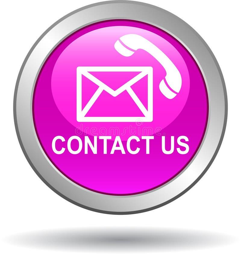 Contattici rosa delle icone di chiamata di posta del bottone royalty illustrazione gratis