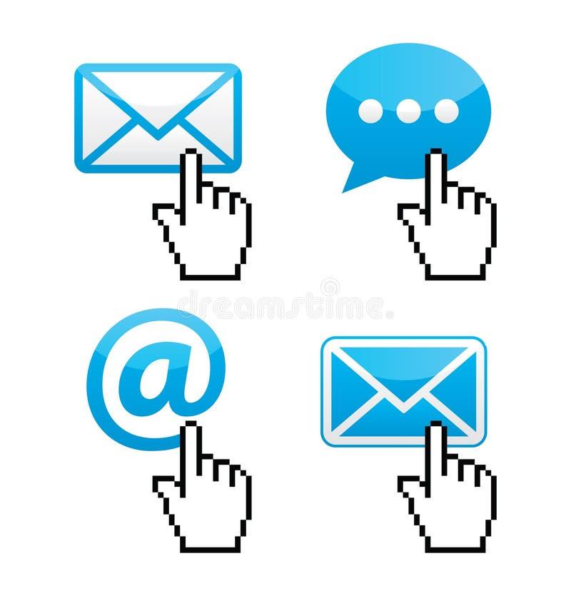 Contatto - busta, email, fumetto con le icone della mano del cursore illustrazione vettoriale