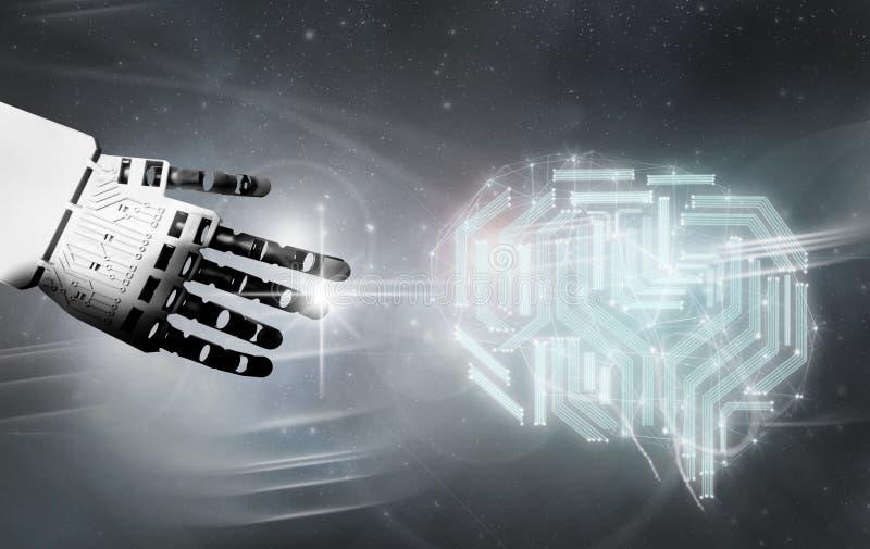 Contatto digitale del cervello del robot fotografie stock libere da diritti