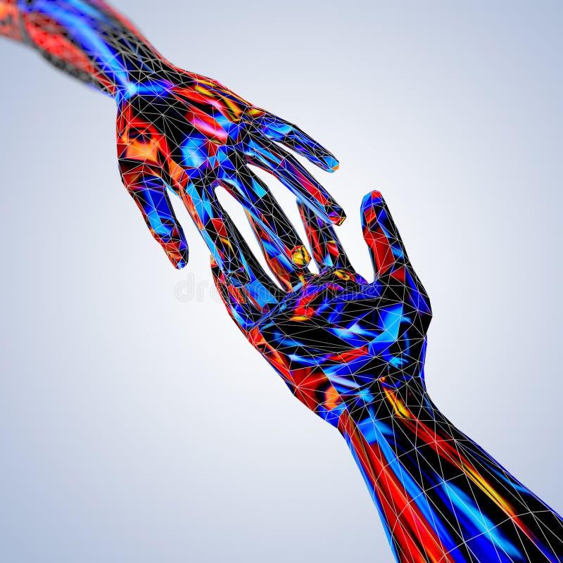 Contatto variopinto e mani amiche nel poli stile basso futuristico illustrazione di stock