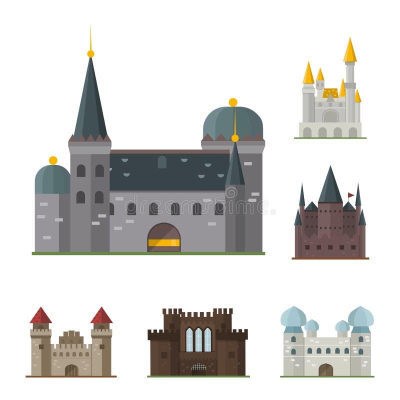 Conte de fées mignon de maison d'imagination d'architecture d'icône de tour de château de conte de fées de bande dessinée médiéva illustration stock