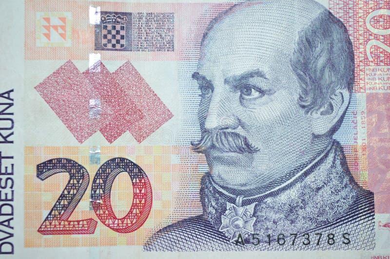 Conte Josip Jelacic Croatian sulla banconota di kuna fotografia stock libera da diritti