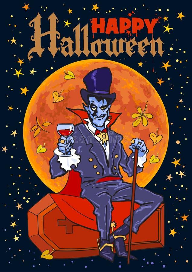 Conte o vampiro de Dracula que senta-se no caixão no fundo da Lua cheia Texto feliz de Dia das Bruxas ilustração do vetor