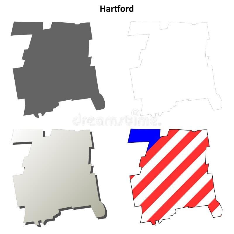 Contea di Hartford, insieme della mappa del profilo di Connecticut illustrazione di stock