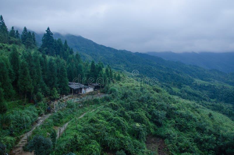 Contea di Longsheng di area scenica del terrazzo di Longji di cinese della provincia del Guangxi immagine stock