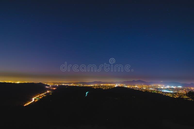 Contea di Orange variopinta California Nightscape fotografia stock libera da diritti