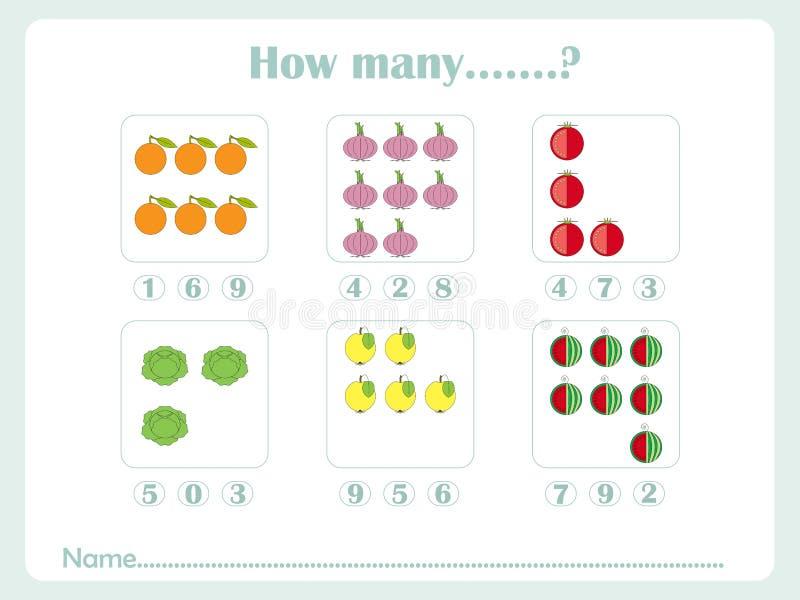 Conteggio dei bambini educativi dei giochi, scheda di attività dei bambini Quanti oggetti di compito Apprendimento del per la mat illustrazione di stock