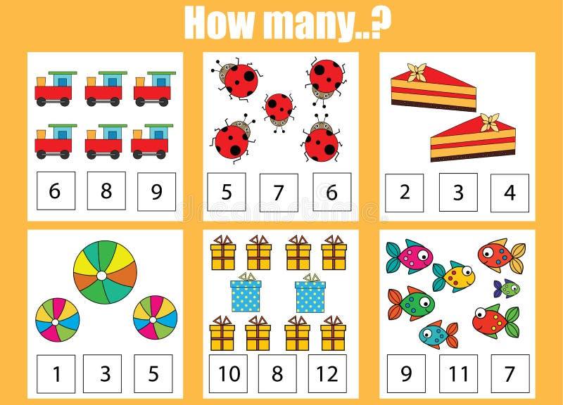 Conteggio del gioco educativo dei bambini, attività dei bambini Quanti oggetti incaricano royalty illustrazione gratis