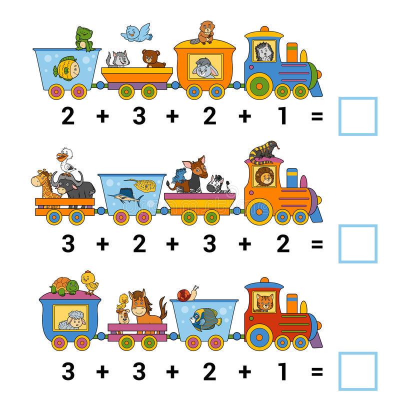 Conteggio del gioco per i bambini Conti gli animali sul treno royalty illustrazione gratis