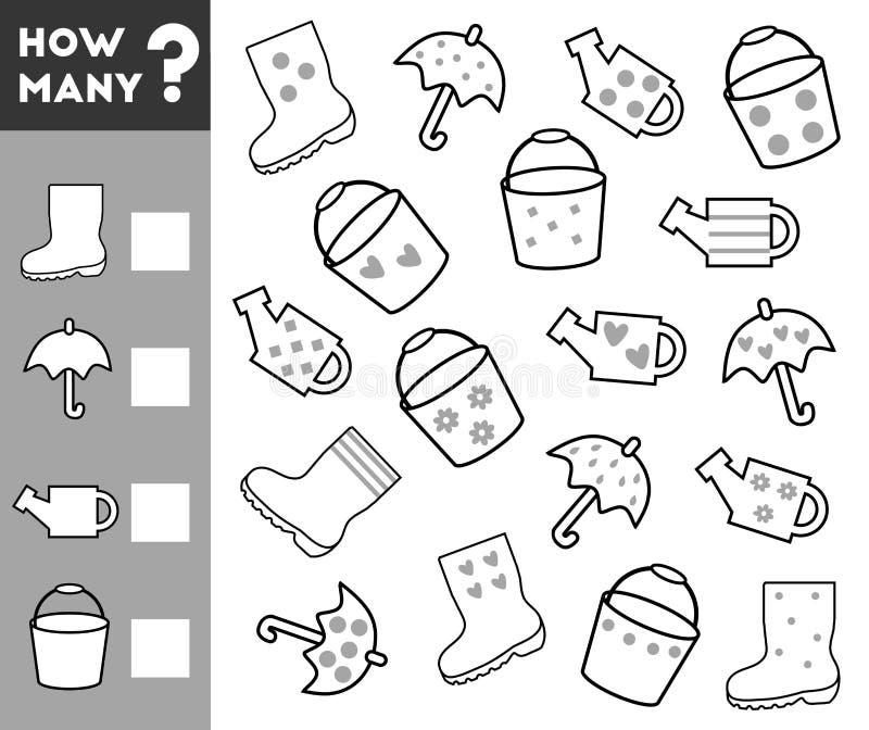 Conteggio del gioco per i bambini Conti quanti oggetti royalty illustrazione gratis
