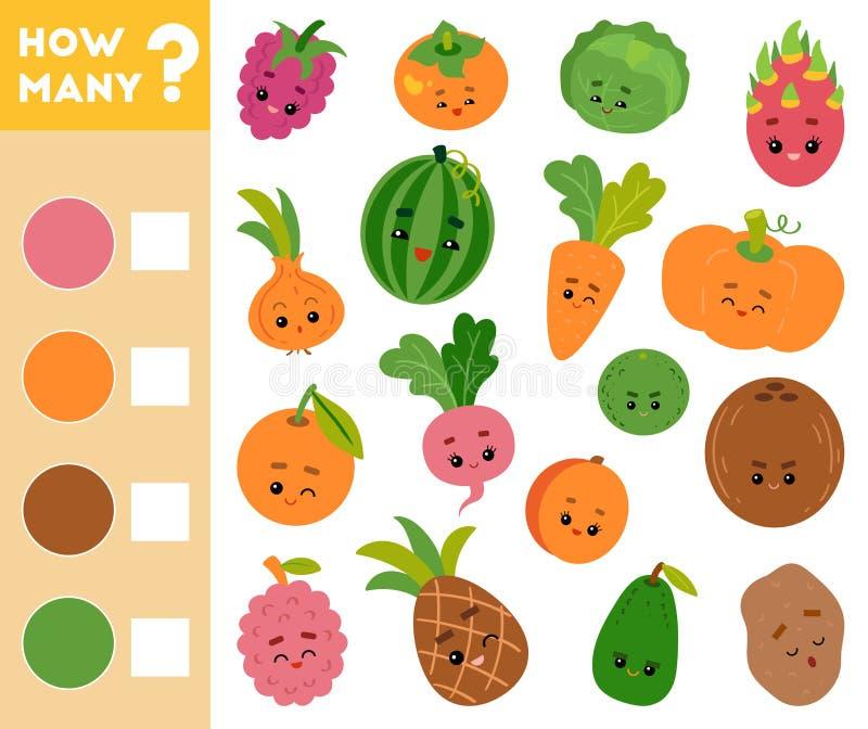 Conteggio del gioco per i bambini Educativo un gioco matematico Conti quante frutta e verdure e scrivere il risultato illustrazione vettoriale