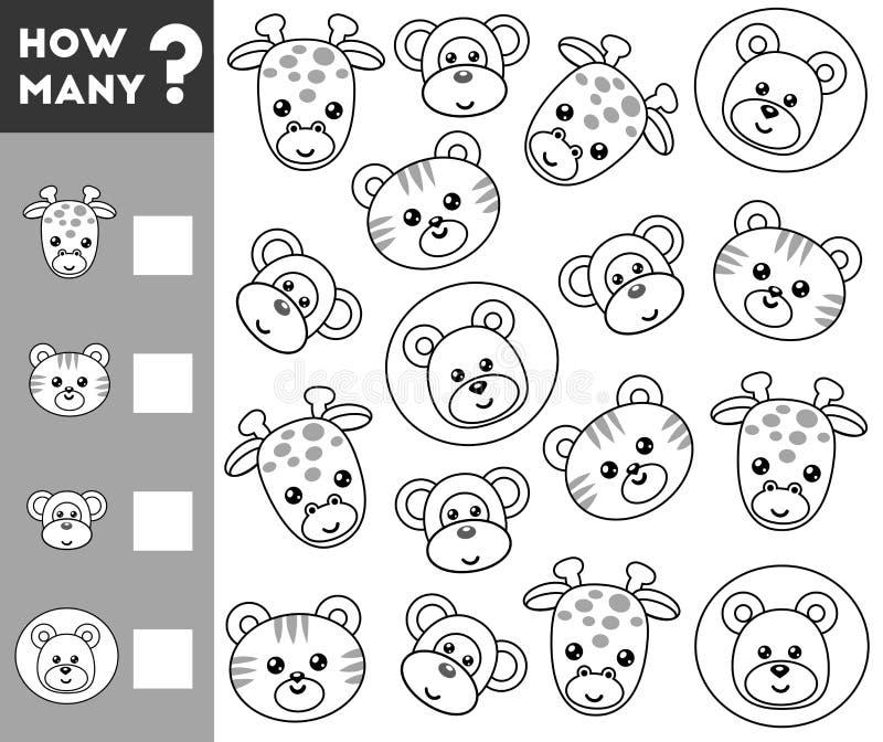 Conteggio del gioco per i bambini in età prescolare Conti quanti animali illustrazione vettoriale
