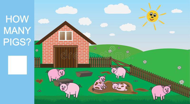 Conteggio del gioco per i bambini in età prescolare Conti quanti maiali, gioco matematico educativo Illustrazione di vettore royalty illustrazione gratis