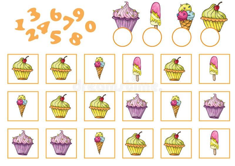 Conteggio del gioco per i bambini in età prescolare Educativo un gioco matematico illustrazione di stock