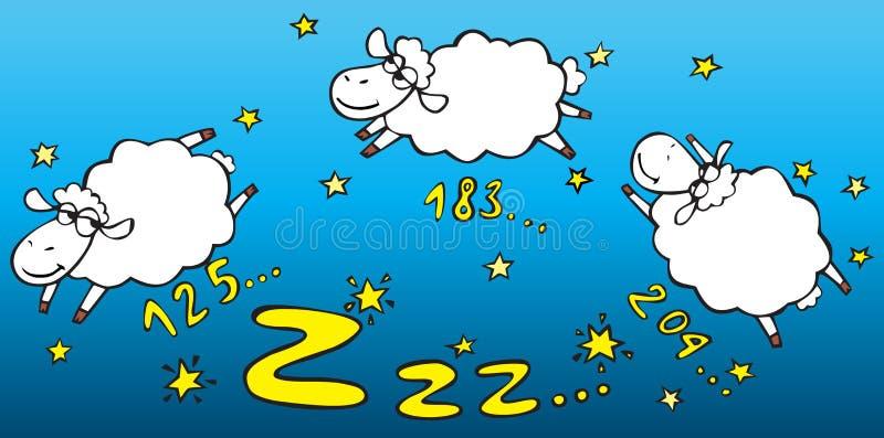 Conteggio delle pecore illustrazione vettoriale