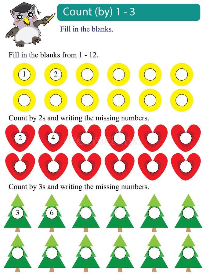 Conteggio di multipli di per la matematica da 1 - 3 illustrazione di stock