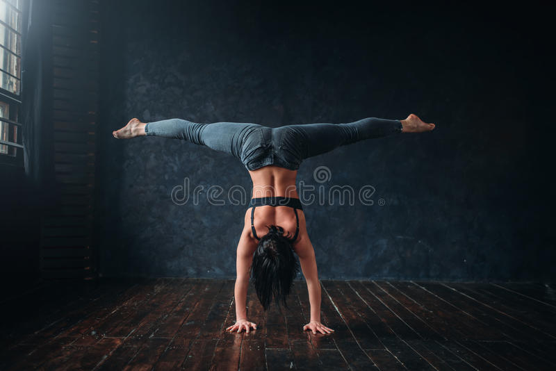 Contemp dancing exercise in dance class stock photography