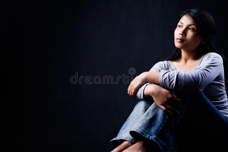 Download Contemplate Woman In Dark Royalty Free Stock Images - Image: 8953679