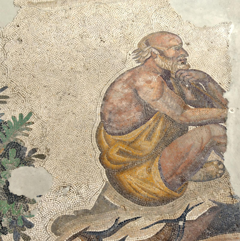 Contemplation. Ancient byzantine mosaic from the great palace of an old muscular man in a robe sitting down contemplating royalty free stock photos