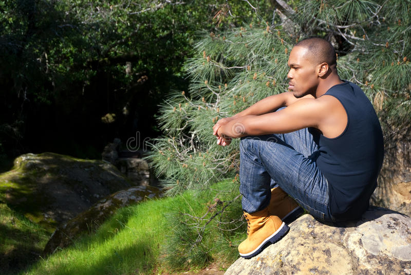 Download Contemplation in Nature stock image. Image of male, casual - 13504953