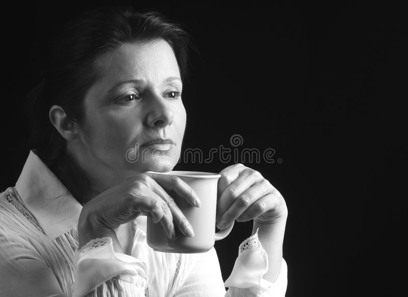 Contemplation over coffee royalty free stock photo