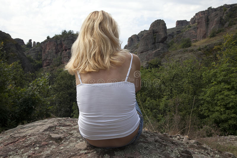 Download Contemplation stock photo. Image of mountain, adult, relaxation - 45027926