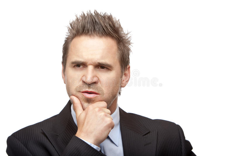 Contemplative Businessman think on problem. Closeup of contemplative businessman on white background stock images