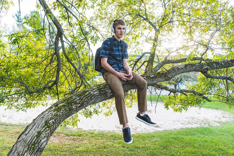 Contemplative student listening to music. The image displays a contemplative student sitting on a tree branch while listening to music through his headphones royalty free stock images